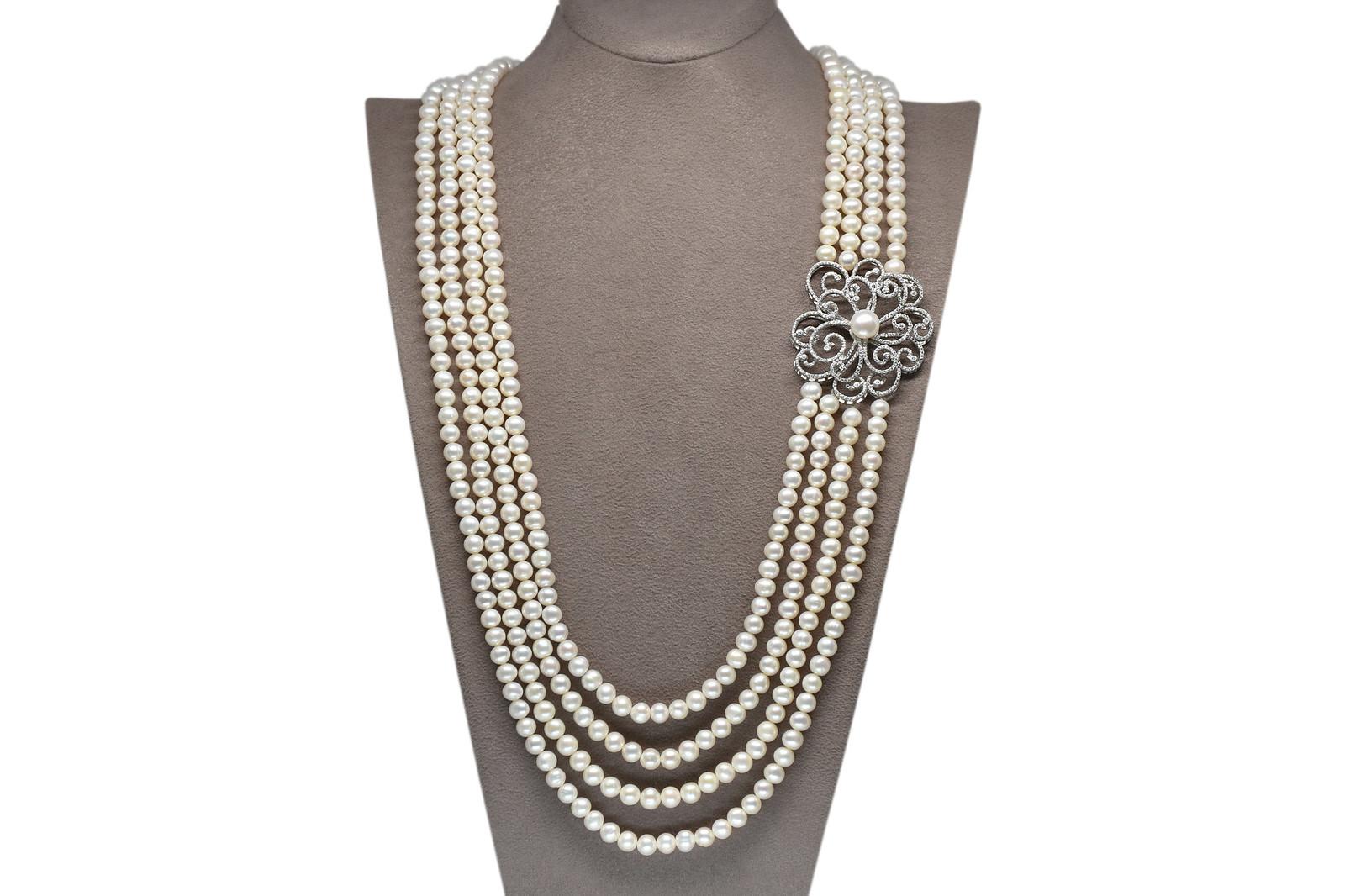 - Ahsen 925K Gümüş Broşlu 4 Sıralı Doğal Beyaz inci Kolye AH-00108