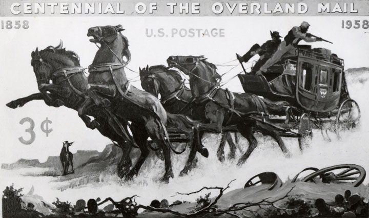 Charles Chickering's original concept for the Overland Mail commemorative.