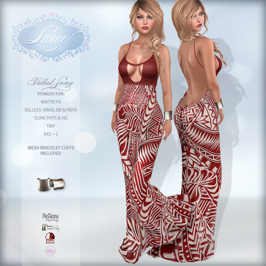 *Lurve* Tribal Song Fitmesh Gown – Red