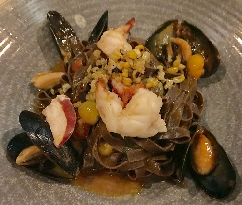 Tagliatelle al cacao (with mussels, lobster, corn, tomatoes)