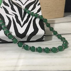Aventurine and haematite necklace: green necklace
