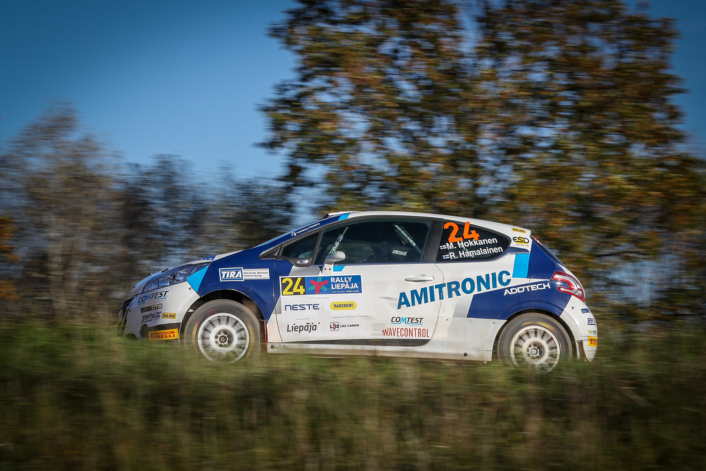 24 HOKKANEN Miika, (FIN), Reeta HAMALAINEN, (FIN), Sainteloc Junior Team, Peugeot 208 R2, Action during the 2018 European Rally Championship ERC Liepaja rally,  from october 12 to 14, at Liepaja, Lettonie - Photo Alexandre Guillaumot / DPPI