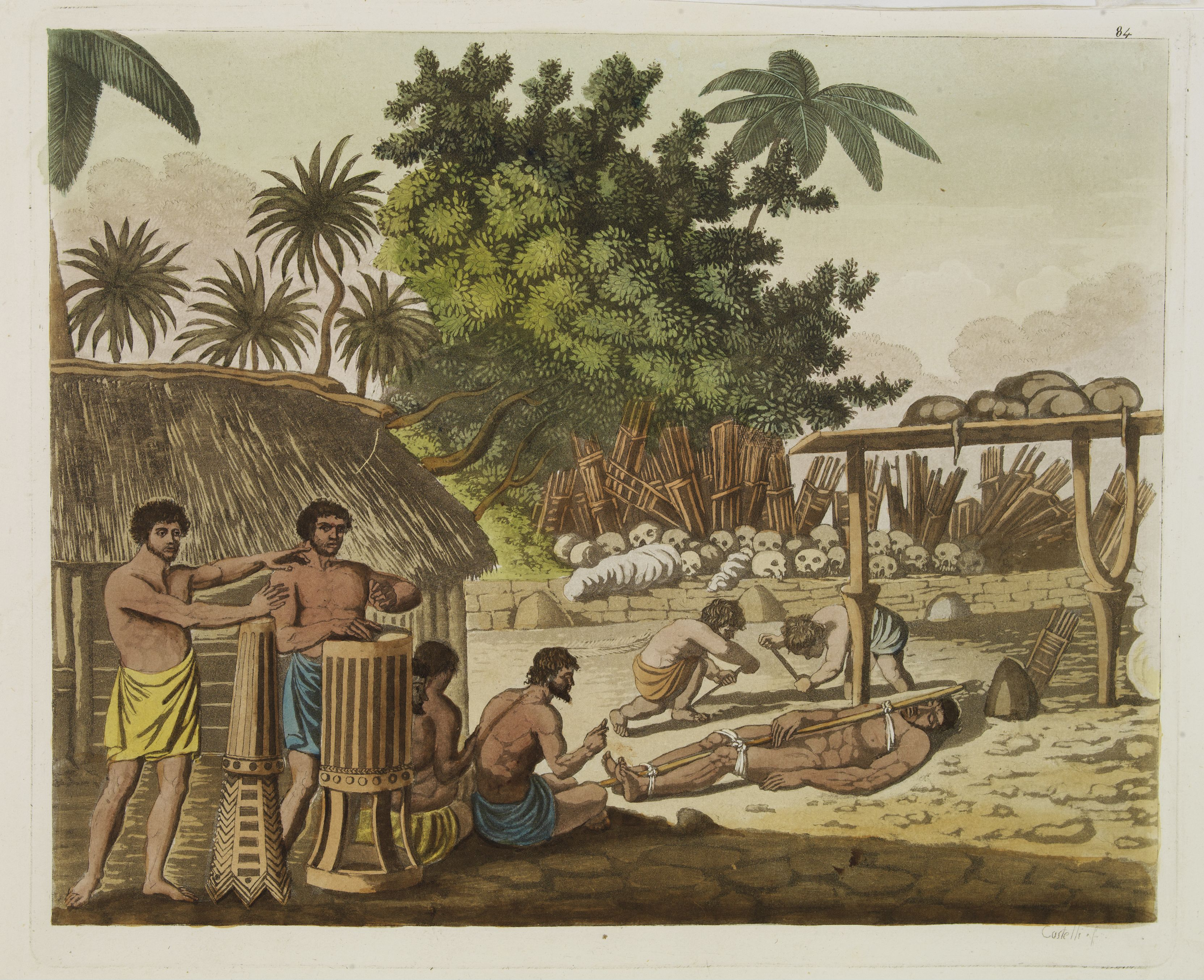Captain Cook witnessed the ceremony of human sacrifice in Tahiti, circa 1773. Published 1827.