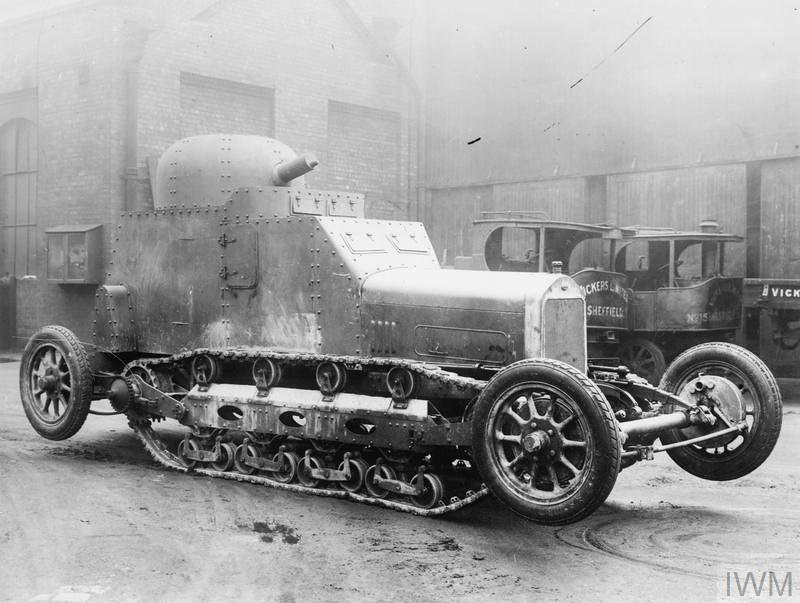 Vickers Wolseley Wheel Track Tank. This vehicle experimental was designed by Vickers in 1927 on Wolseley truck