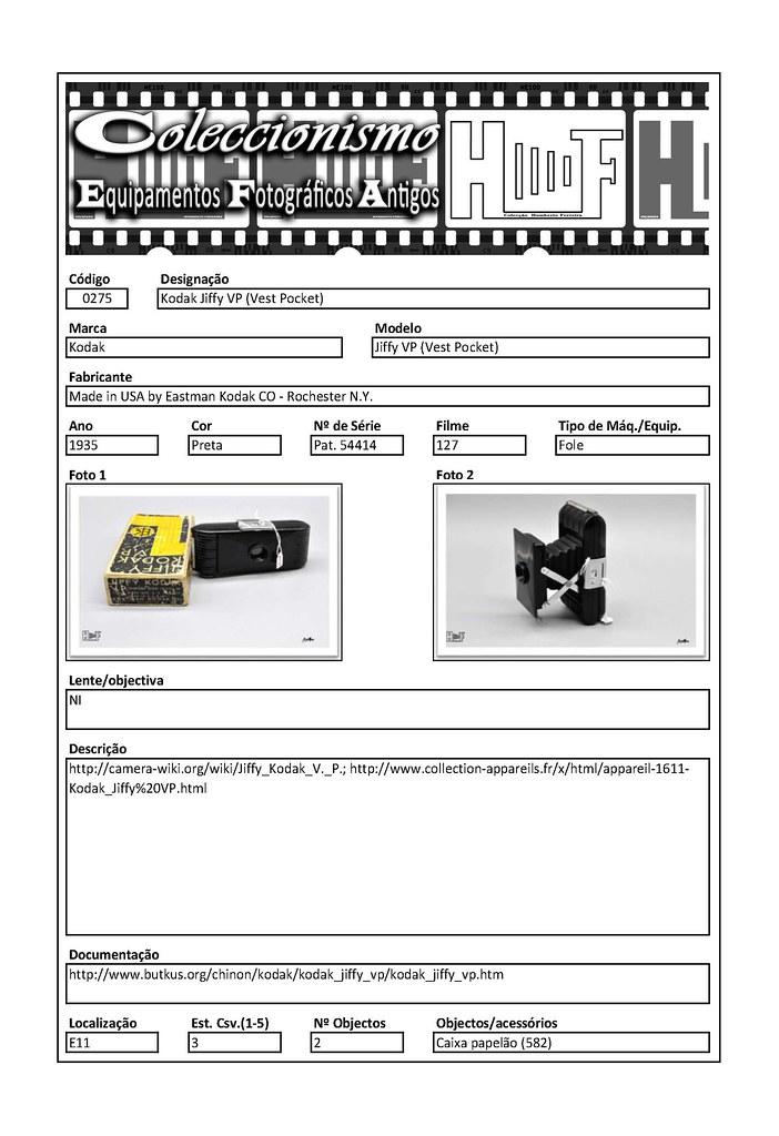 Inventariação da colecção_0275 Kodak Jiffy VP (Vest Pocket)
