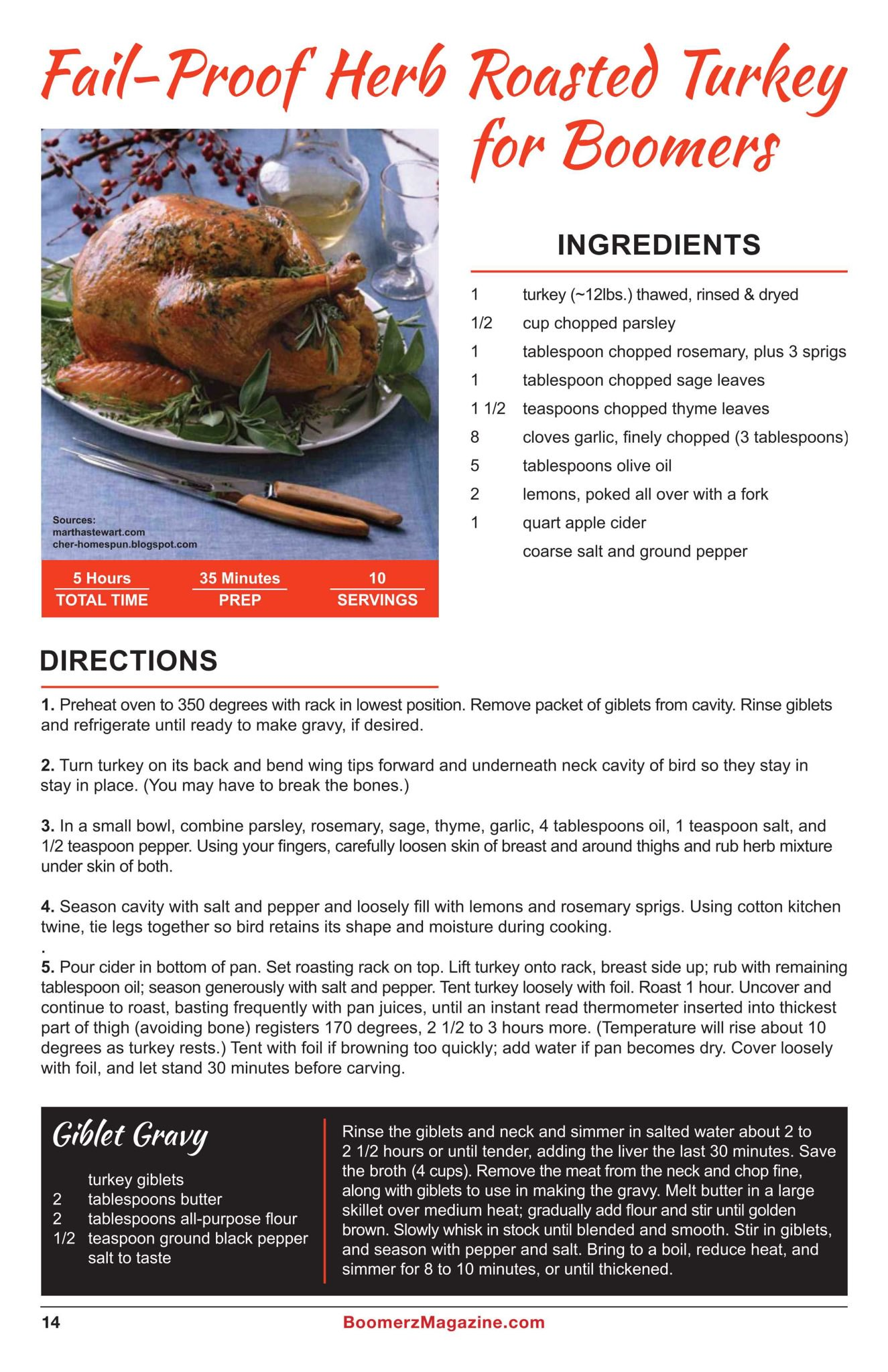 Boomerz Magazine 2018 November Fail Proof Herb Roasted Turkey for Boomers
