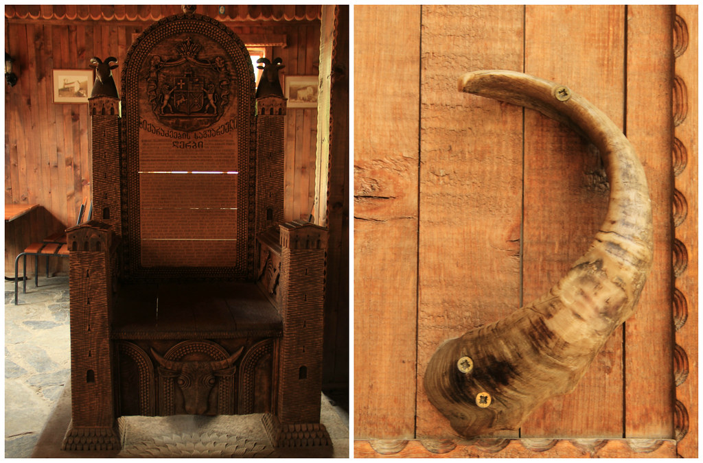 Traditional Svan man's chair and animal horn door handle, Cafe Koshi, Ushguli