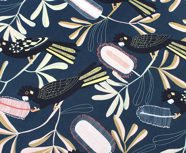 Nerida Hansen Fabrics - Cockatoo Banksia Dark by Jocelyn Proust Designs