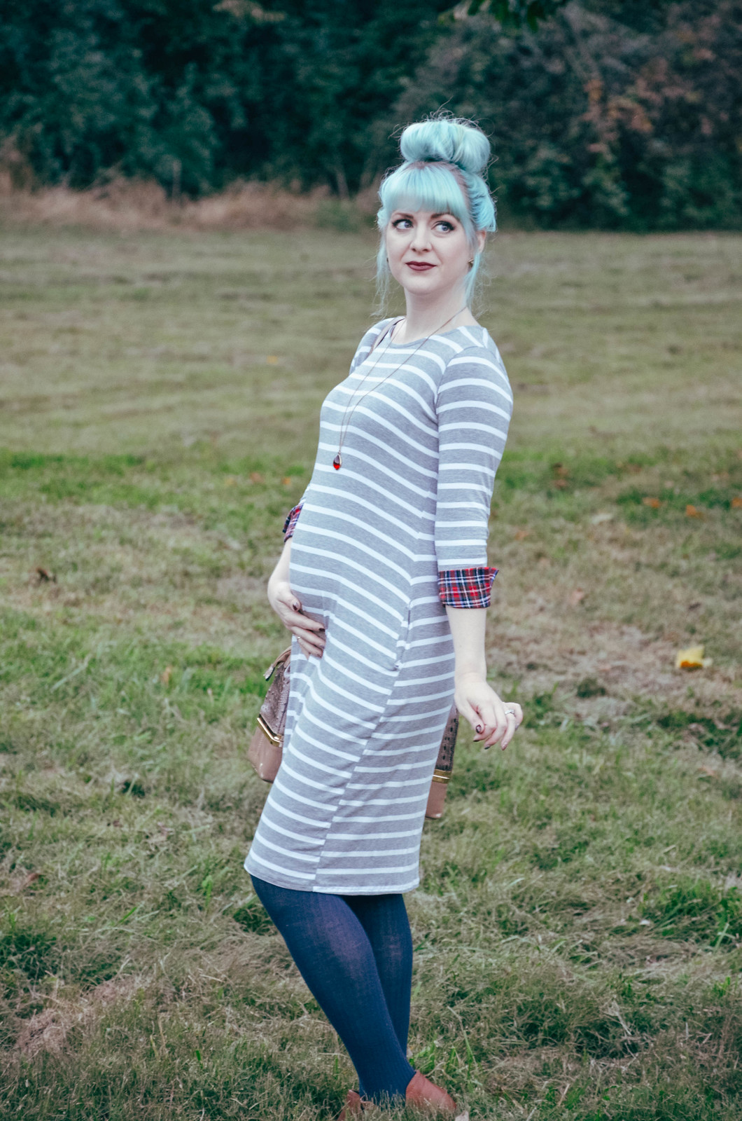 Heather Grey Striped Plaid Cuff Maternity Midi Dress | ThisLexingtonLife.com