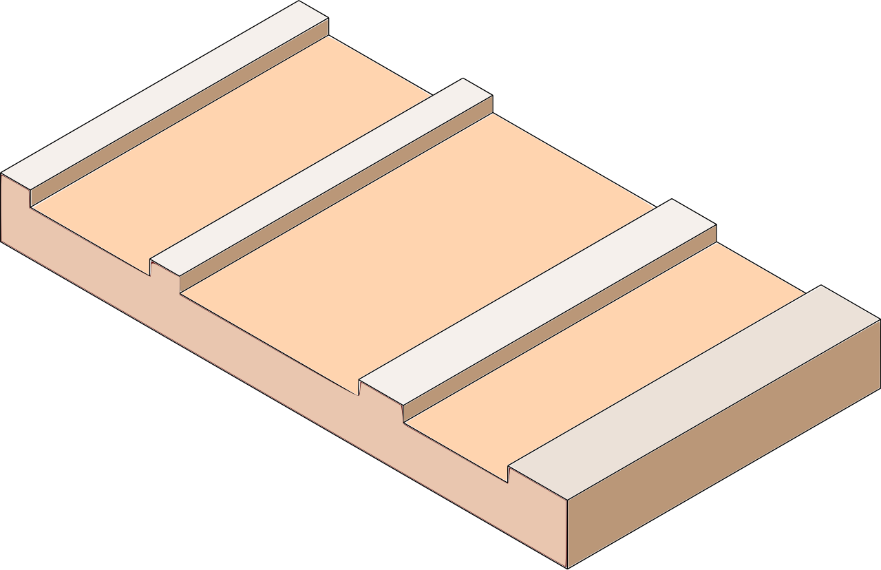 1. Depressions are cut into a printing plate. The plate shown here is not to scale: the grooves can be less than a millimeter wide.