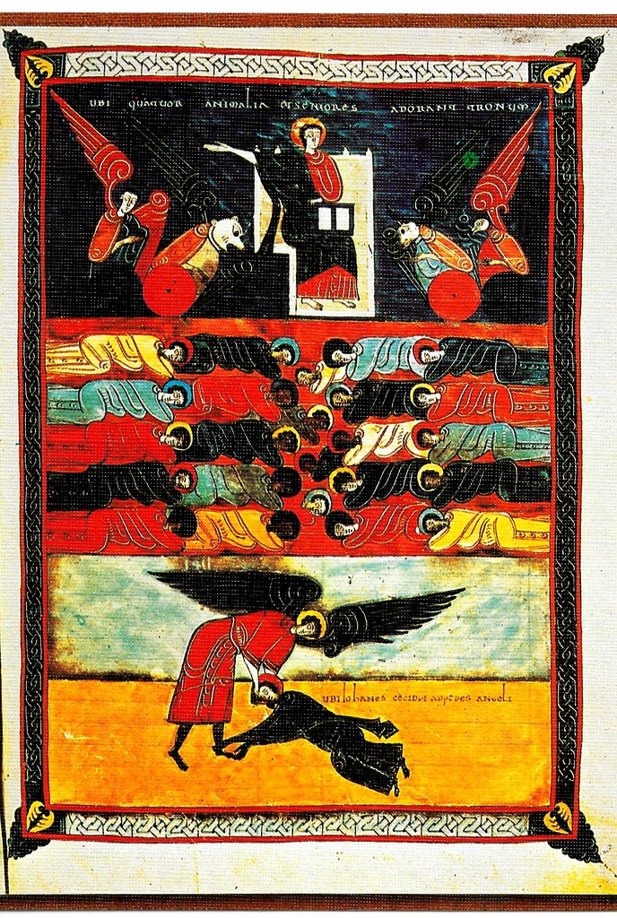 El Señor adorado por los cuatro animales y por las gentes del cielo y de la tierra después de la ruina de Babilonia. San Juan a los pies del ángel. Ap. XIX, 1-10 Santo Toribio de Liébana (Cantabria), San Beato de Liébana (siglo VIII),