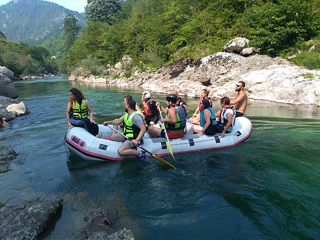 Rafting camping in the Neretva canyon