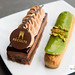 Chocolate Fantasy cake and Pistachio mandarin eclair