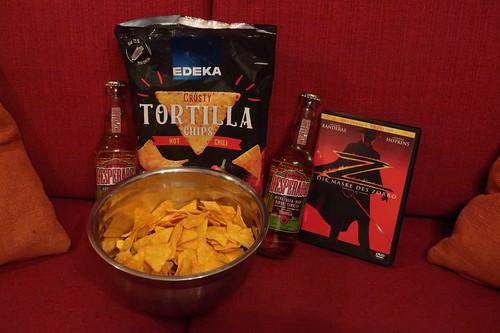 """Tortilla Chips Hot Chili und Desperados zum Film """"Die Maske des Zorro"""""""