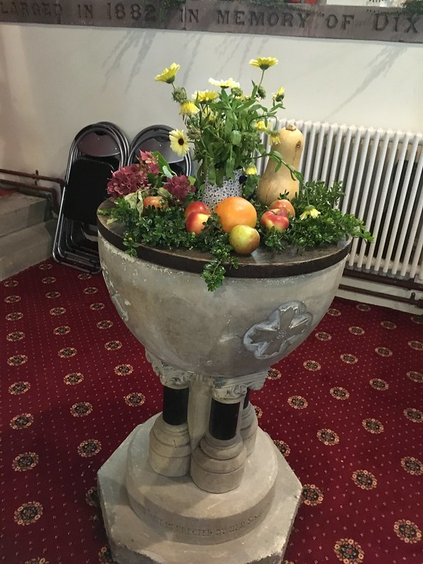 Font with harvest decoration