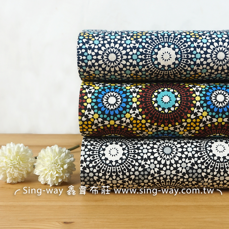 絢麗萬花筒 稜格紋 幾何圖案 對稱圖案 手工藝DIY布料 CA450760