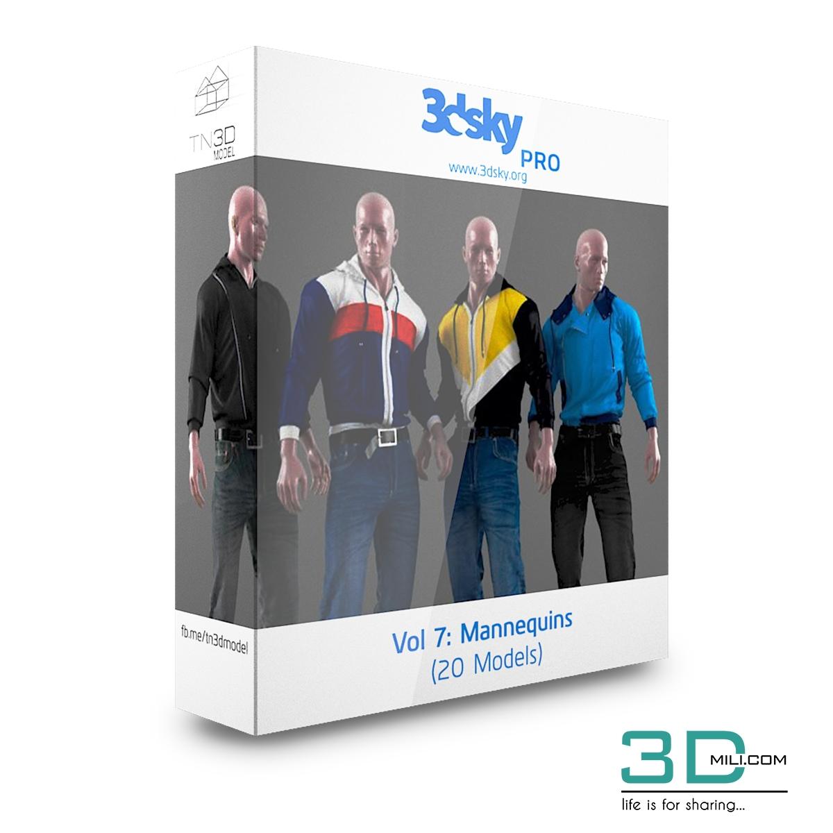 3dsky Pro Vol 7: Mannequins - 3D Mili - Download 3D Model