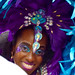 DSC_8475a Notting Hill Caribbean Carnival London Exotic Colourful Purple and Blue Costume with Ostrich Feather Headdress Girls Dancing Showgirl Performers Aug 27 2018 Stunning Lady Charming Smile