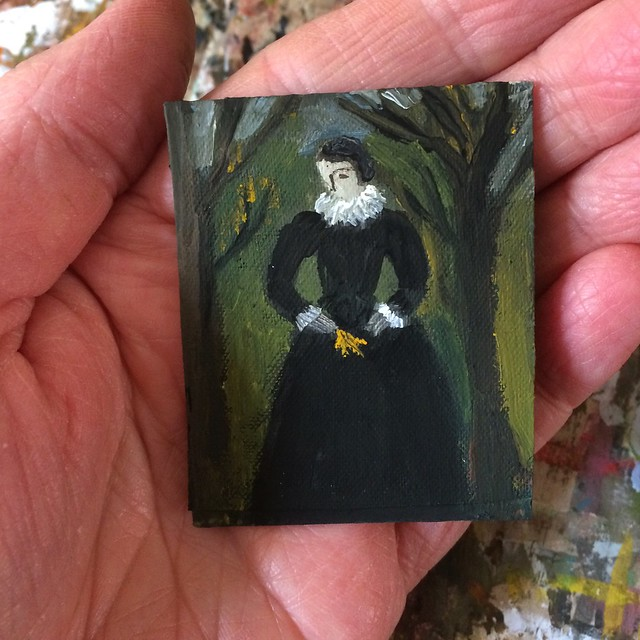 Tiny portrait - figure with gold leaf.