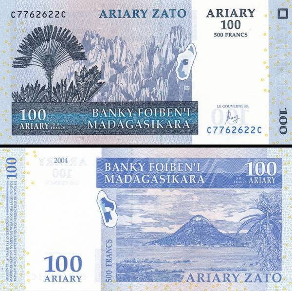 100 Ariary = 500 Frankov Madagaskar 2008(16), P86c
