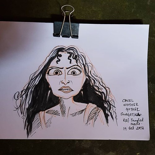 The cruel mother Gothel from the movie Tangled. #mothergothel #rapunzel #tangled #cruel #disneycharacters #inktober2018 #inktober #day11cruel #cruel