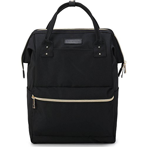 Lily & Drew Casual Travel Daypack School Backpack for Men Women and Laptop Computer, with Doctor Style Top Opening (V4 Black Medium) Review