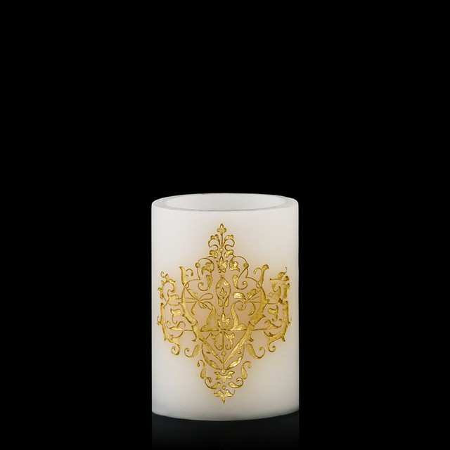 white and Gold embossed candle