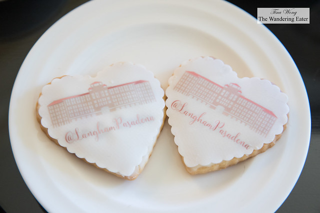 Sugar cookies topped with fondant imprinted with Langham Pasadena's hotel image