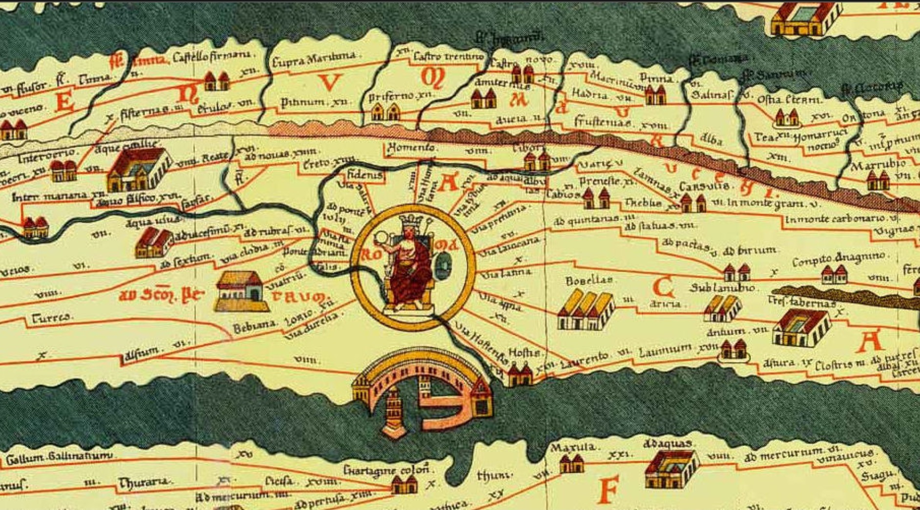 Part of the Tabula Peutingeriana (Konrad Miller´s facsimile, 1887). The Tabula Peutingeriana is thought to be the only known surviving map of the Roman cursus publicus, the state-run road network. The surviving map itself was created by a monk in Colmar in modern-day eastern France in 1265. It is a parchment scroll, 0.34 meters (1 foot 1 inch) high and 6.75 meters (22.1 feet) long, assembled from eleven sections, a medieval reproduction of the original scroll.