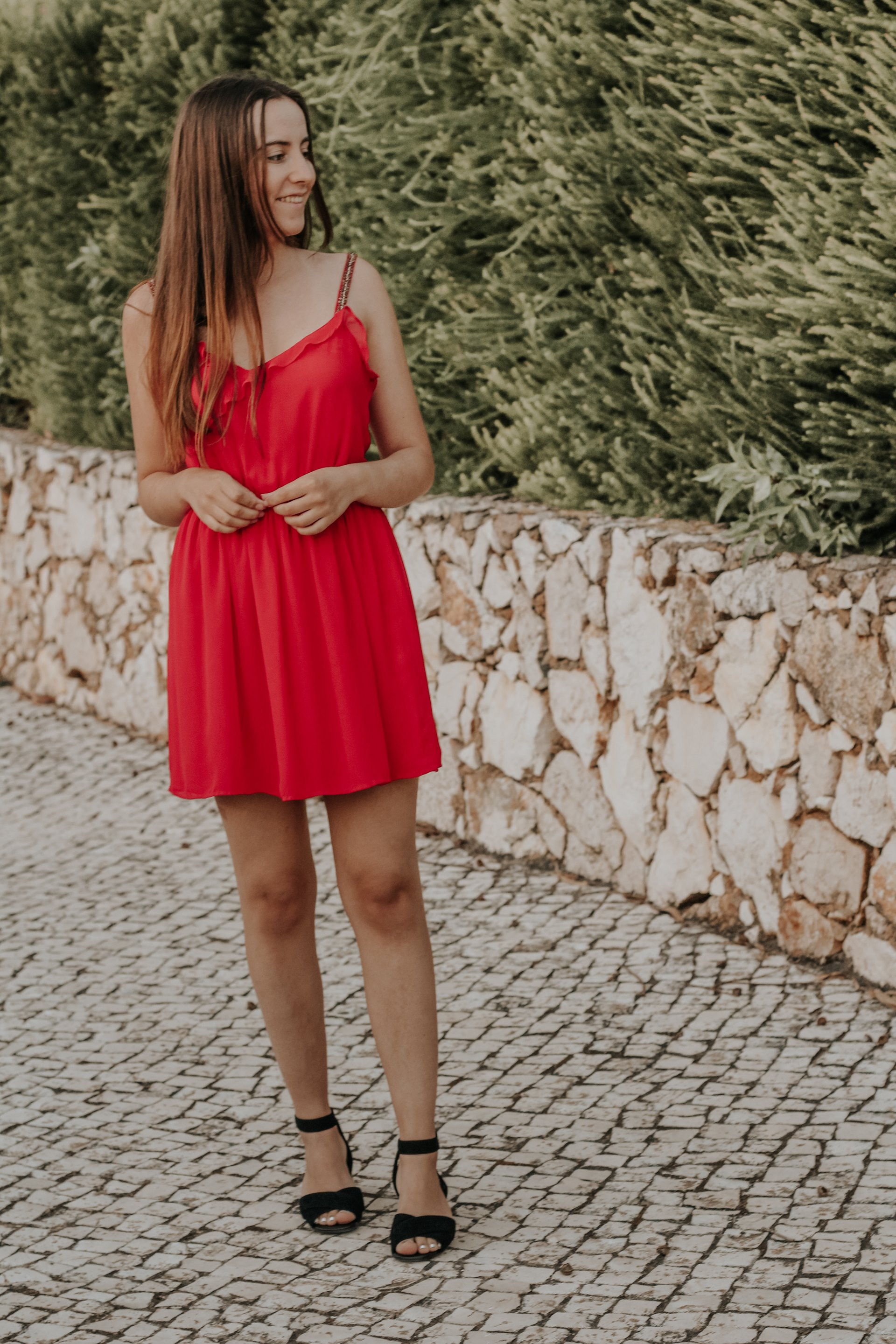 zara_red_dress_outfit_rockport_sandals