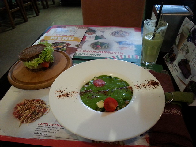 Raw soup, burger, smoothie, Nebos, Kiev