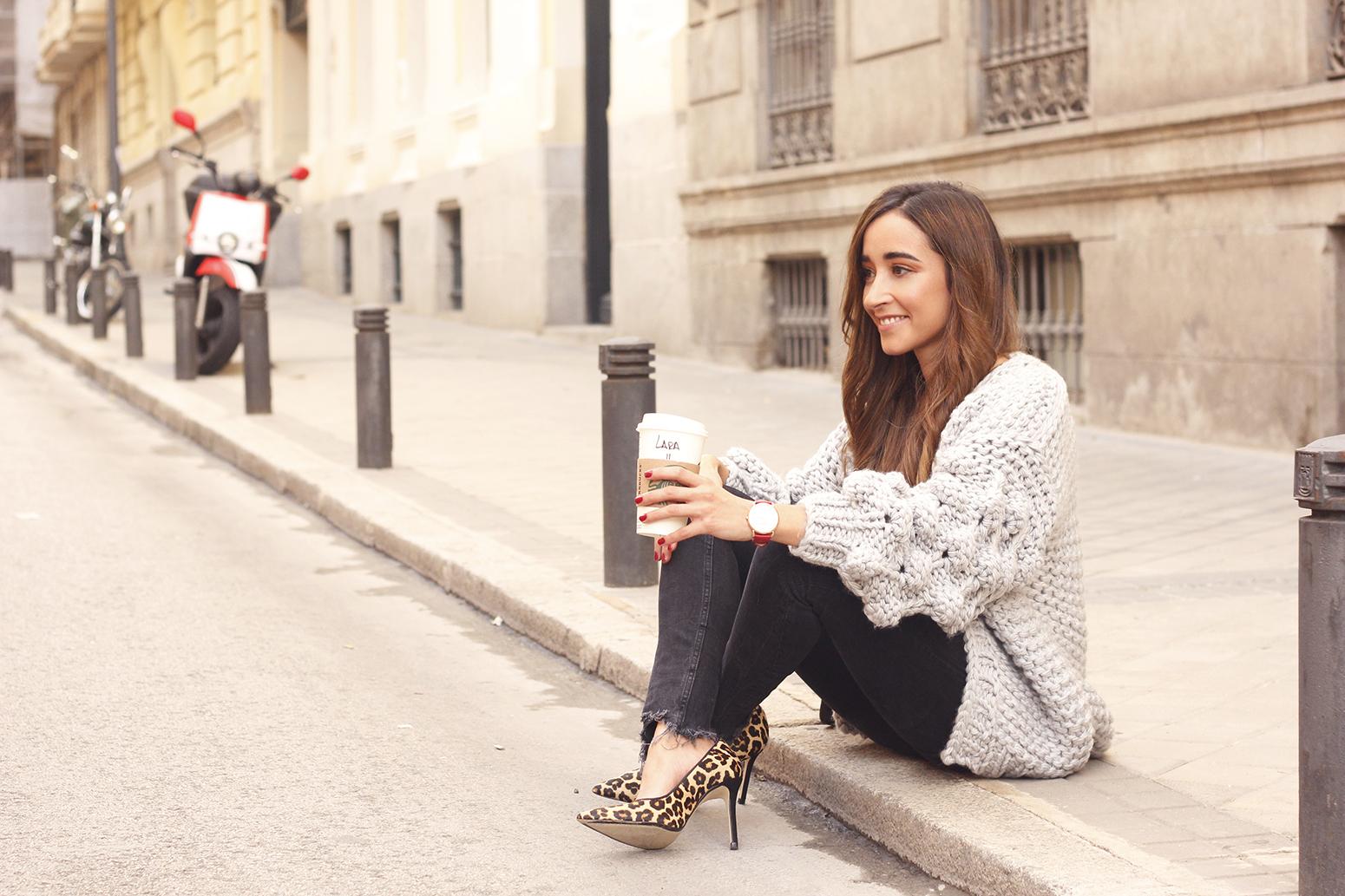 Grey cardigan black jeans folli folie watch leopard print heels starbucks tea street style fall outfit 201813
