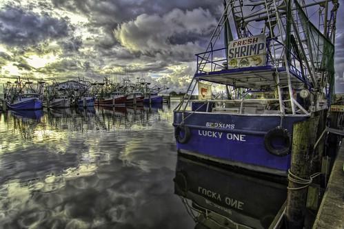 biloxi mississippi shrimpboats dawn sunrise water reflection