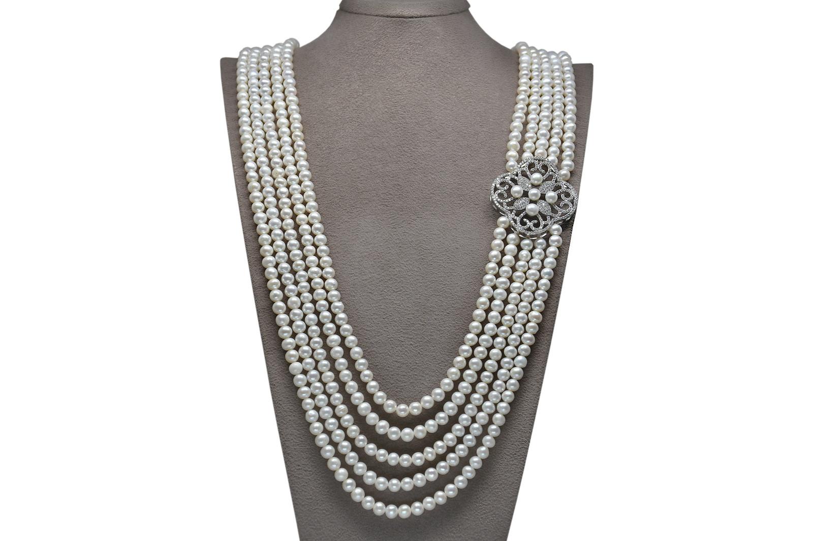 - Ahsen 925K Gümüş Broşlu 5 Sıralı Doğal Beyaz inci Kolye AH-00093