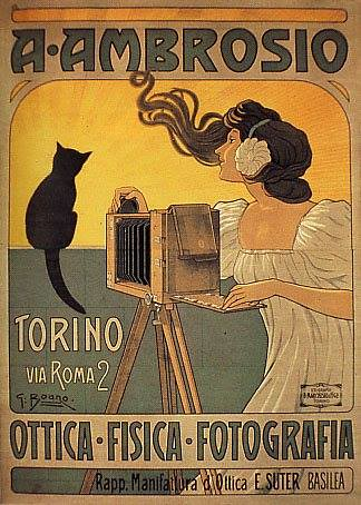 A. Ambrosio – Turin 2, Via Roma – Optics Physics Photography – Agent for the E. Suter Optics Co. Basel (Switzerland) – poster by G. Boano, circa 1910