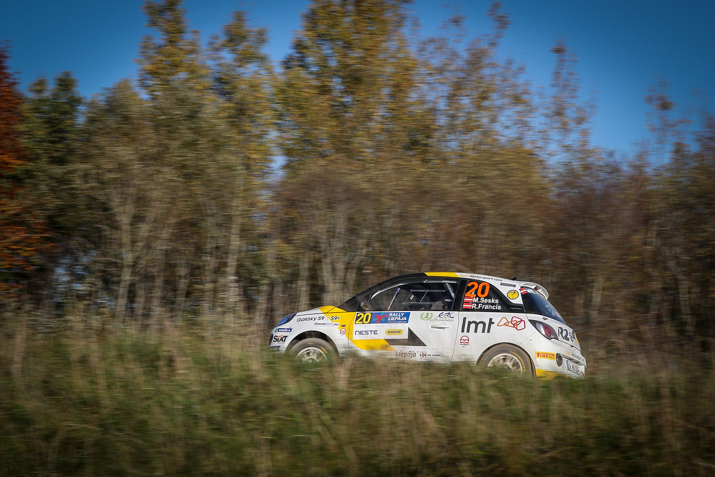 20 SESKS Martins, (LVA), Renars FRANCIS, (LVA), ADAC Opel Rallye Junior Team, Opel Adam R2, Action during the 2018 European Rally Championship ERC Liepaja rally,  from october 12 to 14, at Liepaja, Lettonie - Photo Alexandre Guillaumot / DPPI