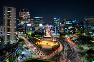 Sungnyemun gate (Namdaemun Market) or Namdaemun gate with light trails of car at night in Seoul, South korea.
