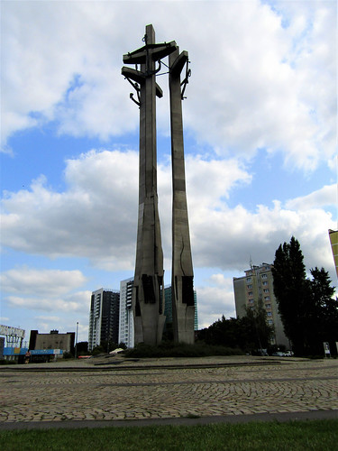 Monument of the Fallen Shipyard Workers at the shipyard's gates in Gdansk