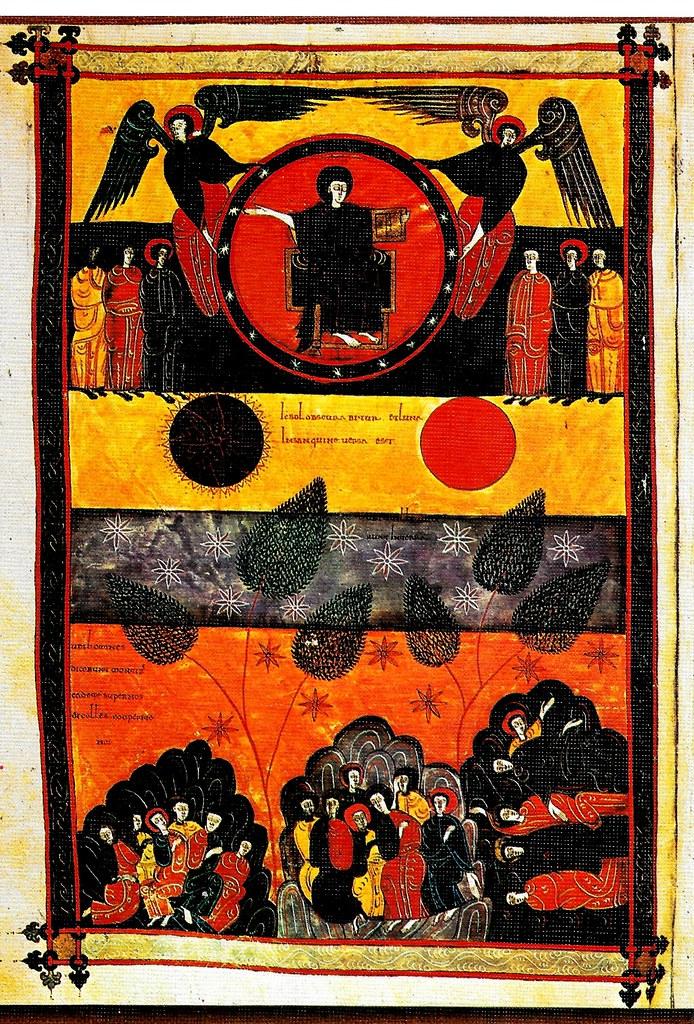 El terremoto y el eclipse; las gentes escondiéndose en las cavernas. Ap. VI, 12-17 Santo Toribio de Liébana (Cantabria), San Beato de Liébana (siglo VIII),