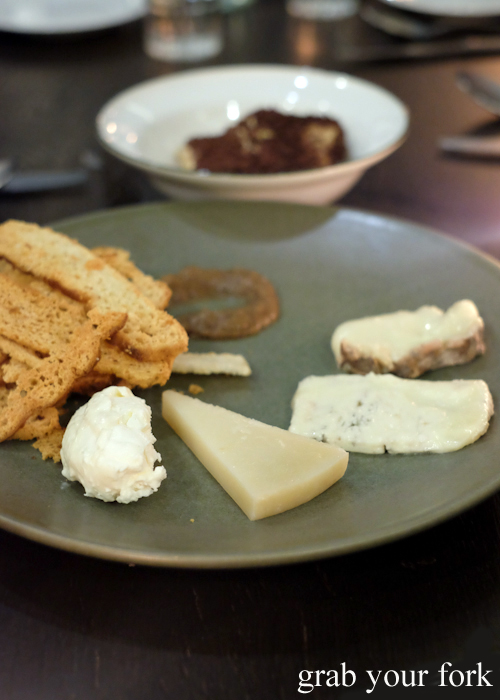 Italian cheese board with mustard fruits and croutons at Bistecca Sydney