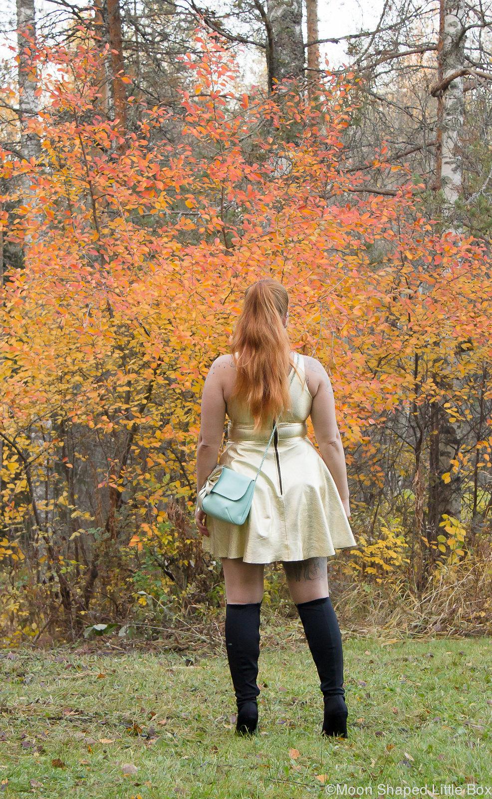 Golden leather dress, kultainen nahkamekko, syksyn muoti, nahkamekko, päivän asu