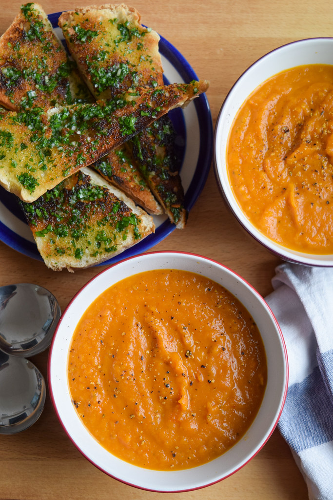Slow Roasted Tomato & Butternut Squash Soup with Homemade Garlic Bread
