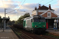 BB(5)67559 + wagons plats - MA100 - Train n°807330 Gisors > Le Bourget-Triage