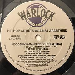 HIP-HOP AGAINST APARTHEID:NDODEMNYAMA(FREE SOUTH AFRICA)(LABEL SIDE-B)