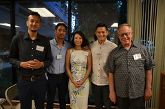 From left: Swaraj Man, Navesh, and Cristeena Chitrakar with Eric Chang, East-West Center Arts Program Coordinator and Richard Kennedy, Arts 'Ohana Chair: Arts 'Ohana reception: Capturing a Legacy: Four Generations of Nepalese Photographers