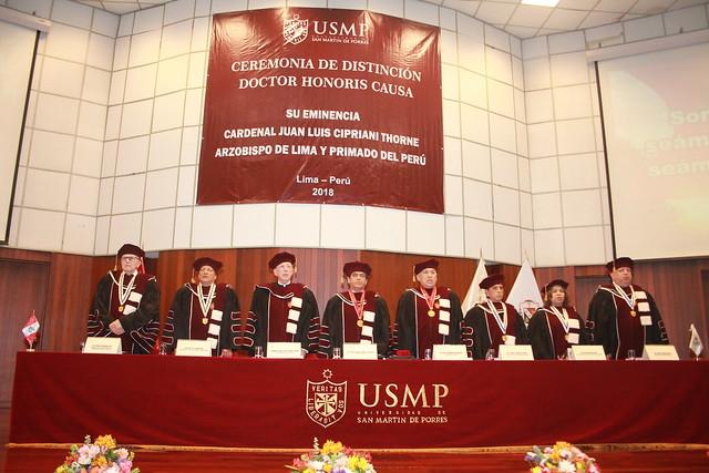 Universidad de San Martín de Porres entregó la distinción de Doctor Honoris Causa al Cardenal Juan Luis Cipriani