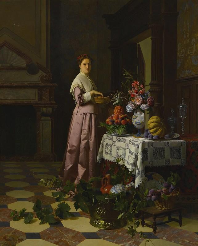 David Emil Joseph de Noter and Petrus Renier Hubertus Knarren - An Interior with fruit and flowers