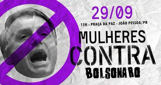 Paraibanas vão às ruas contra Bolsonaro no dia 29 de setembro
