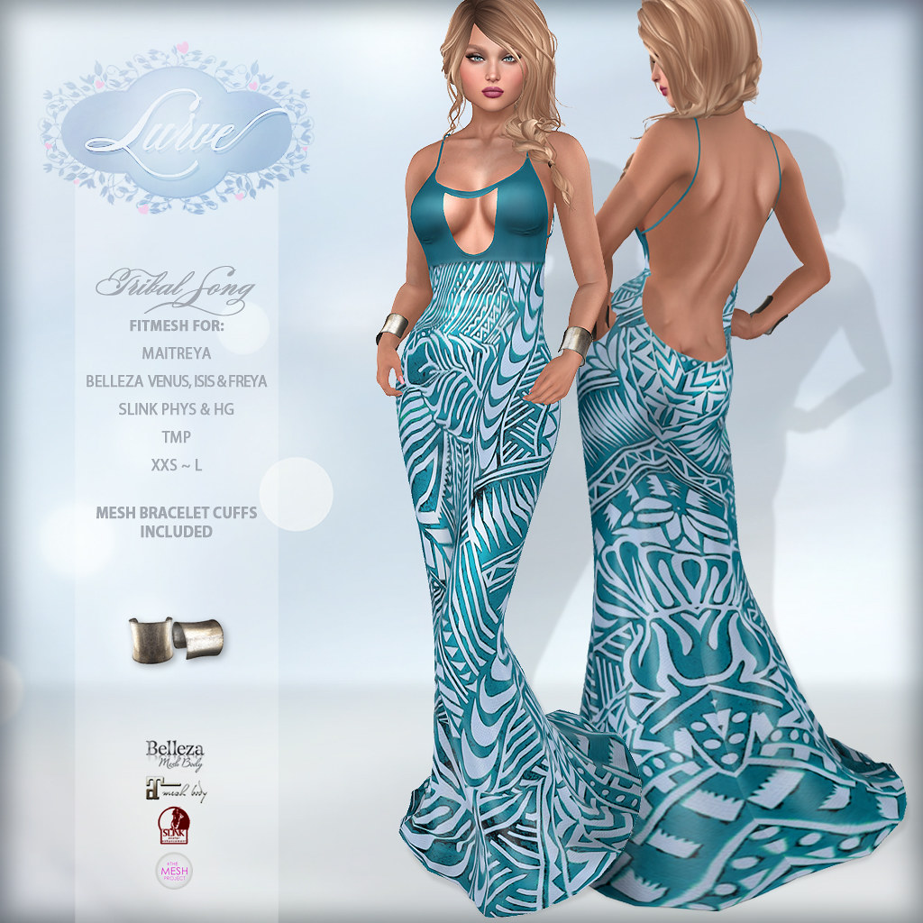 *Lurve* Tribal Song Fitmesh Gown in Turquoise