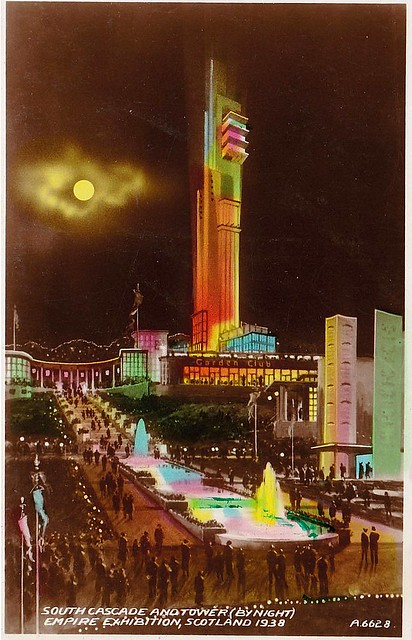 South Cascade and Tower by Night, Empire Exhibition 1938